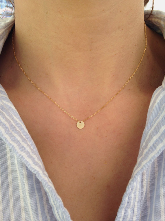 Ritastephens  - 14k Yellow Gold Mini Disc Pendant Adjustable Chain Necklace $85.00