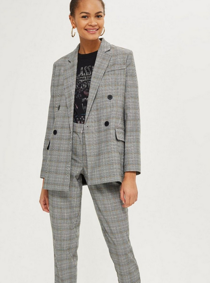 Topshop - Checked Double Breasted Jacket $125.00 (Similar)
