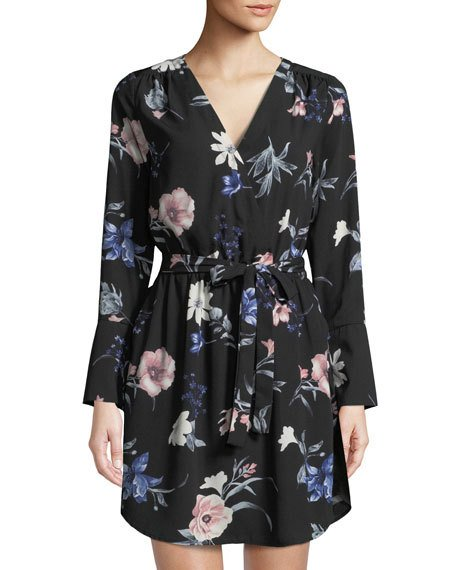 Black Tape  - V-Neck Long-Sleeve Floral Wrap Dress $79.00