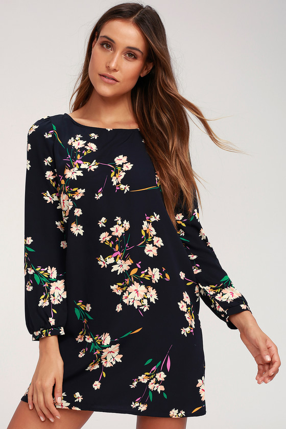 Herbaceous Babe - Navy Floral Print Shift Dress $45.00