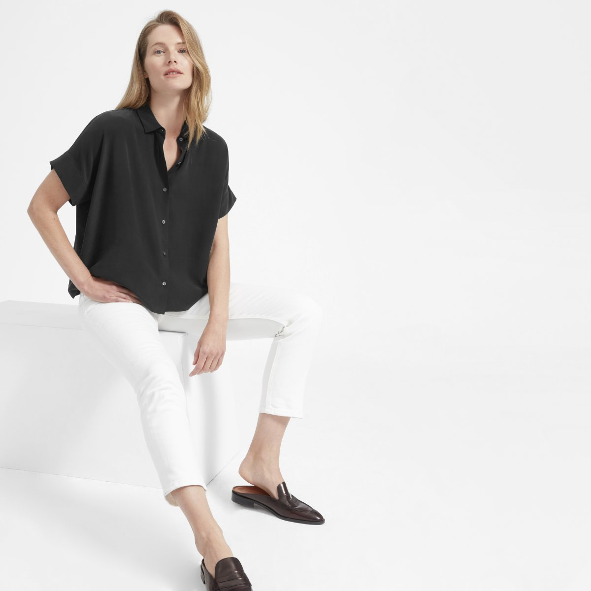 Everlane - The Silk Short-Sleeve Square Shirt $88