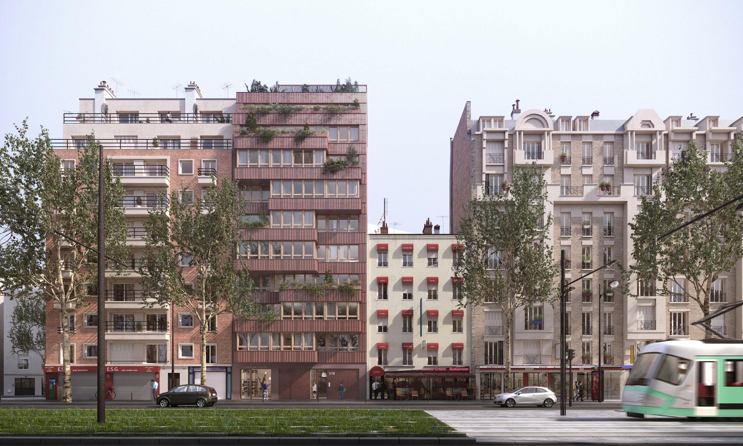 16 logements Paris 17e - programme:16 logements sociaux et un jardin partagé sur le toitmaîtrise d'ouvrage:Pierres et Lumièresmaîtrise d'oeuvre:Palast, Switch (thermique et fluides), I+A (structure), M.Ecallard (economiste)mission :mission de basebudget :2 millions d'euroslieu :119 Boulevard Bessières, Paris 17Certification:NF Habitat HQE 7 étoiles, Effinergie+calendrier :lauréat du concours en octobre 2016, DCE en courscrédit perspectives :Virgin Lemon