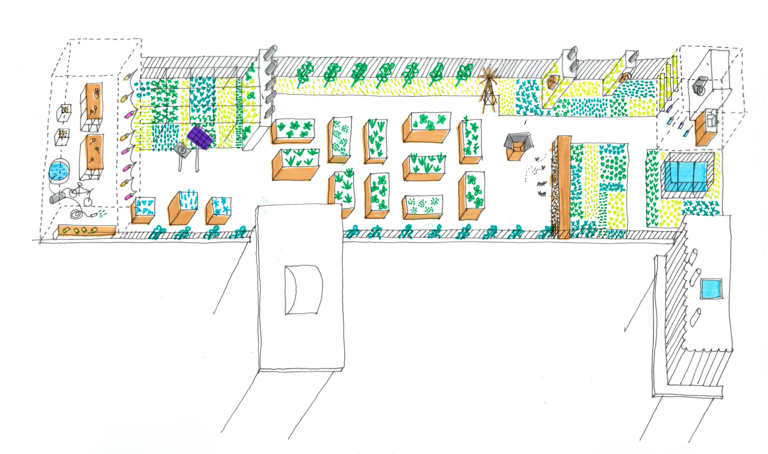 Jardin sur les toits Ecole Saint-Martin Paris 3e - programme : Création d'un nouvel escalier, réhausse des gardes-corps et création de bacs potagers et végétalisation extensivemaîtrise d'ouvrage: SLA 1234maîtrise d'oeuvre: Palast, I+A (structure), BIE (fluides)mission : complètebudget : 300 000 €lieu : Rue Saint-Martin, 75003calendrier : chantier en cours