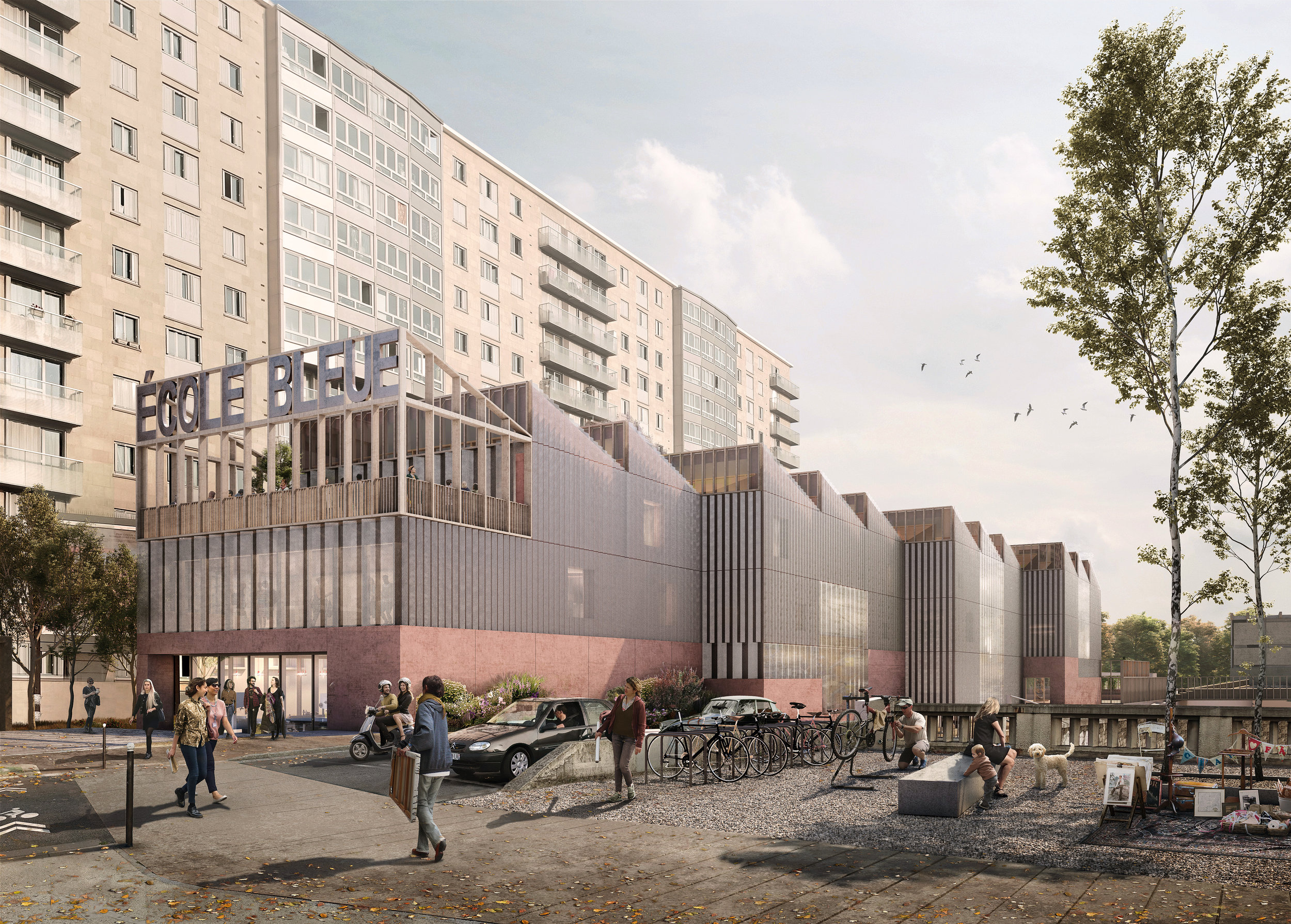 Ecole BleuePorte de Vincennes - programme: Construction d''un bâtiment de 20 salles de classes, 2 amphithéâtres et d'un fablab pour l'Ecole Bleue (3050 m²) + parking de 50 placesmaîtrise d'ouvrage: RIVPmaîtrise d'oeuvre: Palast (mandataire) en association avec Morris+Company, EVP (structure), INEX (Economiste, fluides), Lamoureux (acoustique)mission : Mission de basebudget : 9.5 millionslieu : Porte de Vincennes, Paris 12ecertification : Energie 3 et Carbone 1, Plan Climat de Pariscalendrier : Septembre 2018crédit perspectives : Forbes Massie
