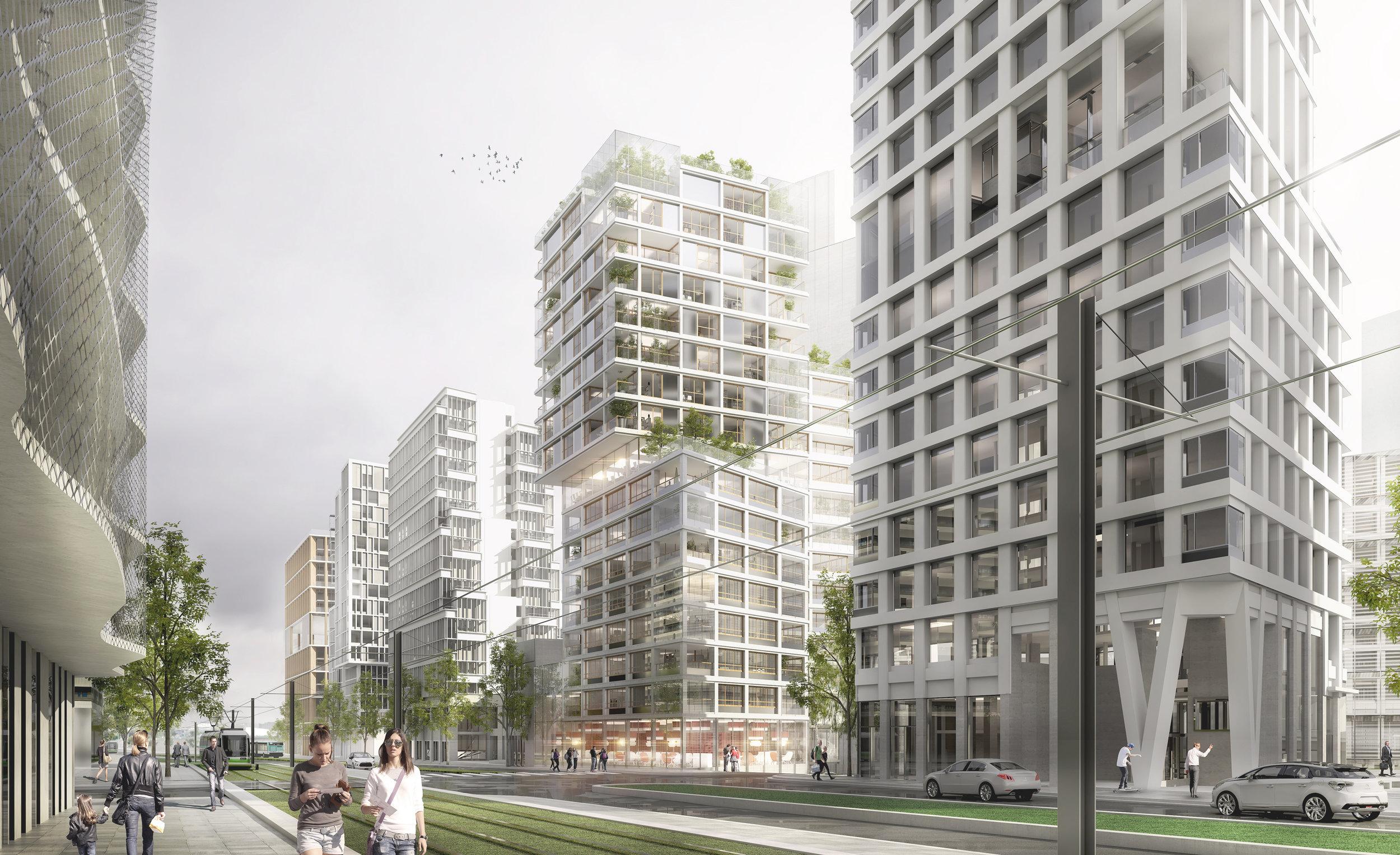 Ilot B1B2Zac BruneseauParis 13e - programme: Construction d'une tour résidentielle de 50m (6733 m² SDP)maîtrise d'ouvrage: Réalités promotionmaîtrise d'oeuvre: Palast + a/LTA architectes, EVP (structure), 1024 (lumière), INEX (HQE), Rémi Algis (paysage)mission : concours restreintbudget : 13 millions d'euroslieu : ZAC BRUNESEAU_PARIS 13date : Mars 2018crédit perspectives : Splaan