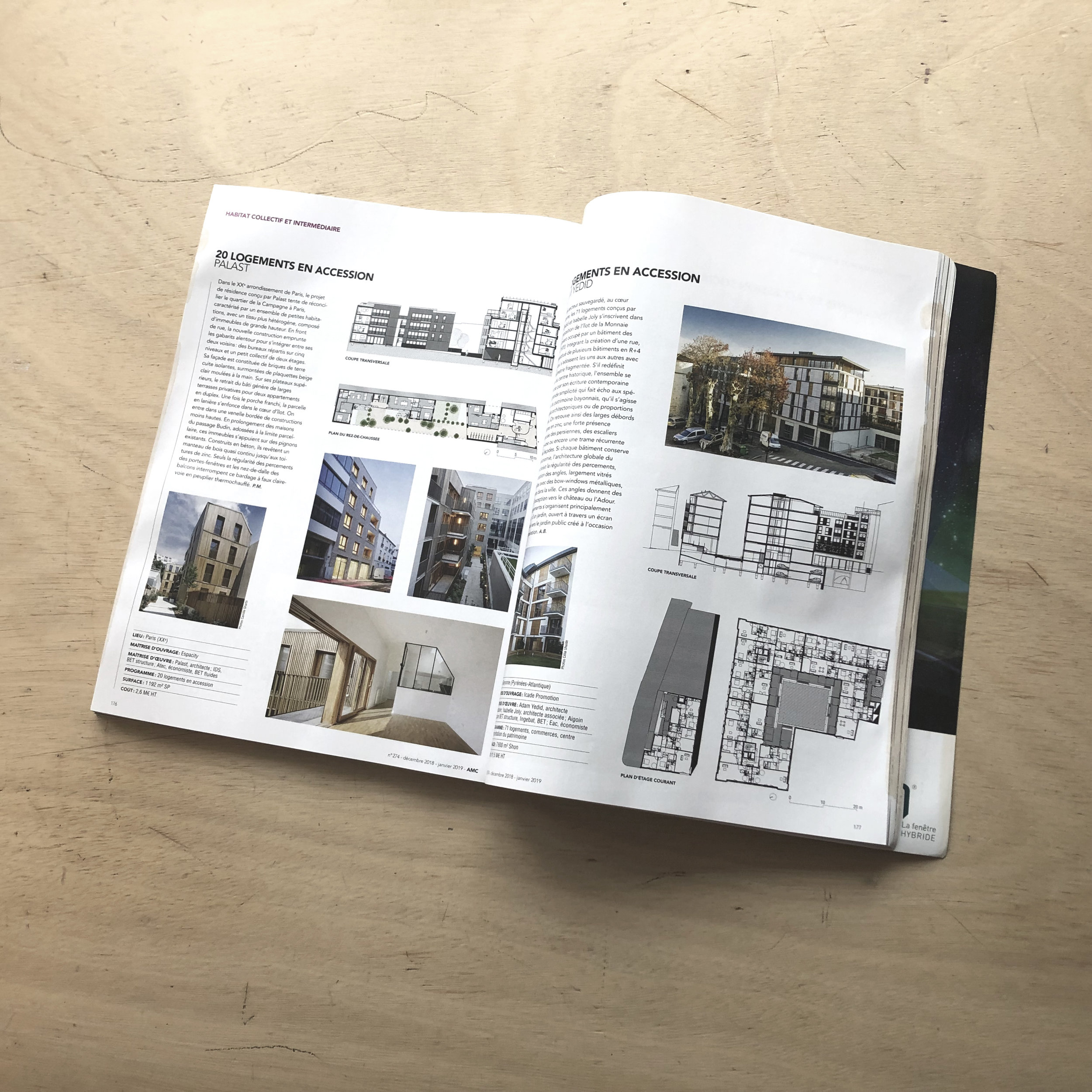 Publication, 20 logements, Paris 20 - Notre projet du 42 rue Alphonse Penaud est sélectionné et publié dans les 100 bâtiments de l'année 2018 du numéro annuel de AMC.