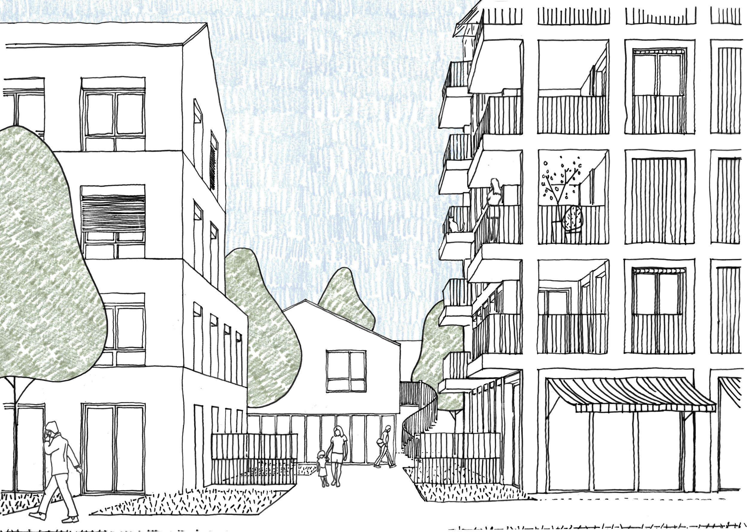 Projet lauréat, 47 logements Alma, Rennes - Palast est lauréat du concours pour la construction de 47 logements à Rennes, quartier Sud Gare rue de l'Alma, pour Réalités promotion