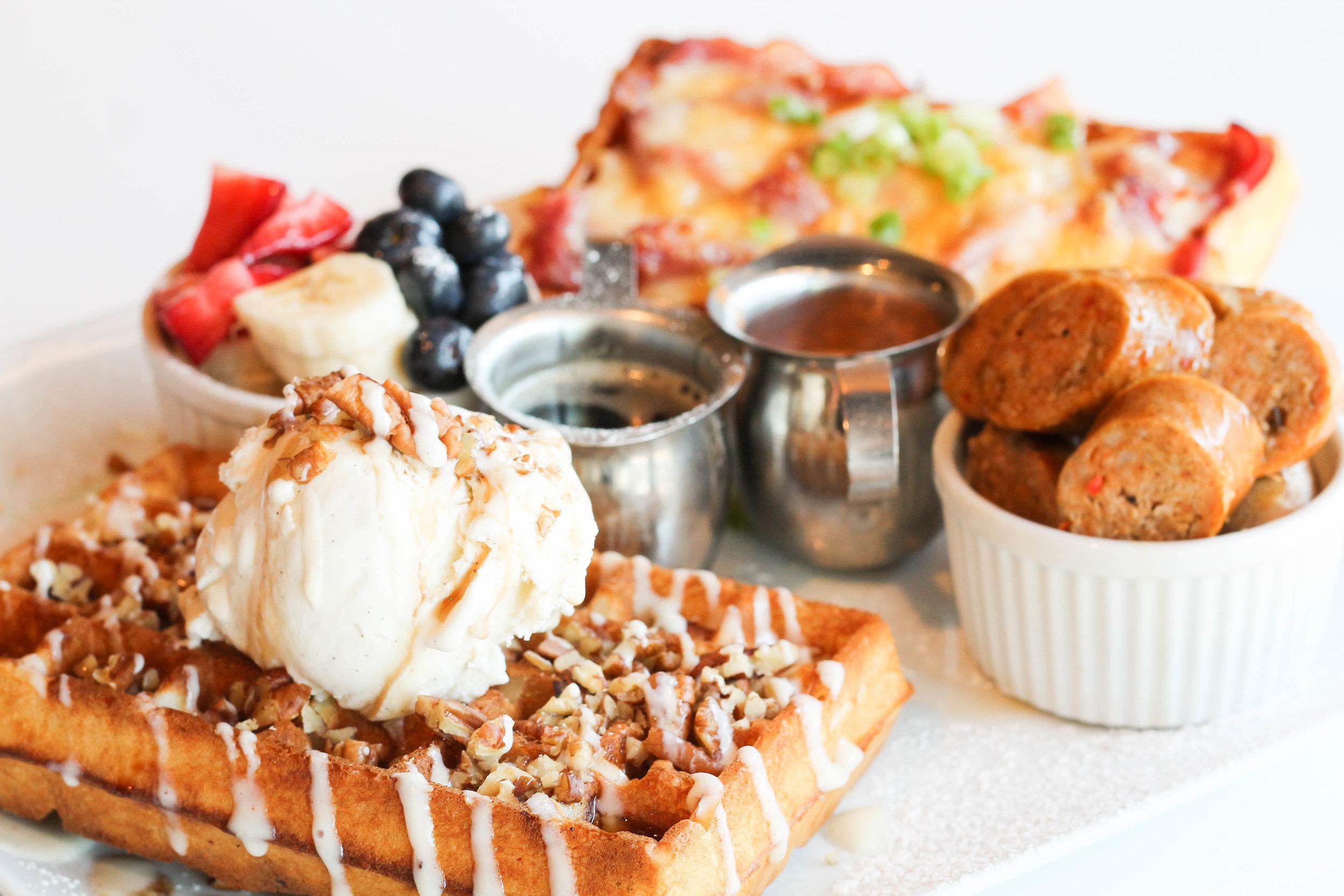 The Buttermilk Breakfast with Ham & Cinnamon Bun Waffles