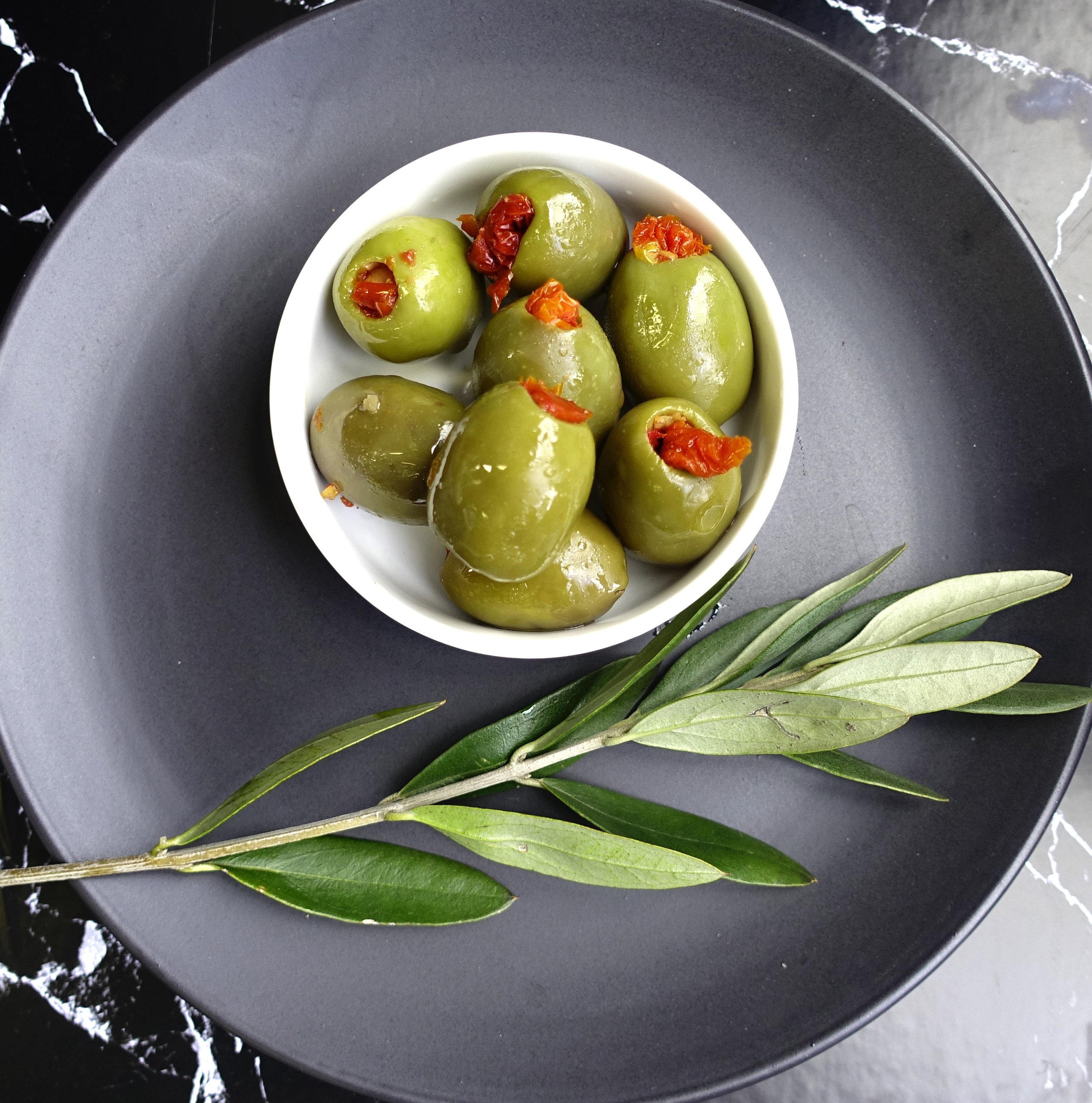 Green Olives Filled with Sun Dried Tomato