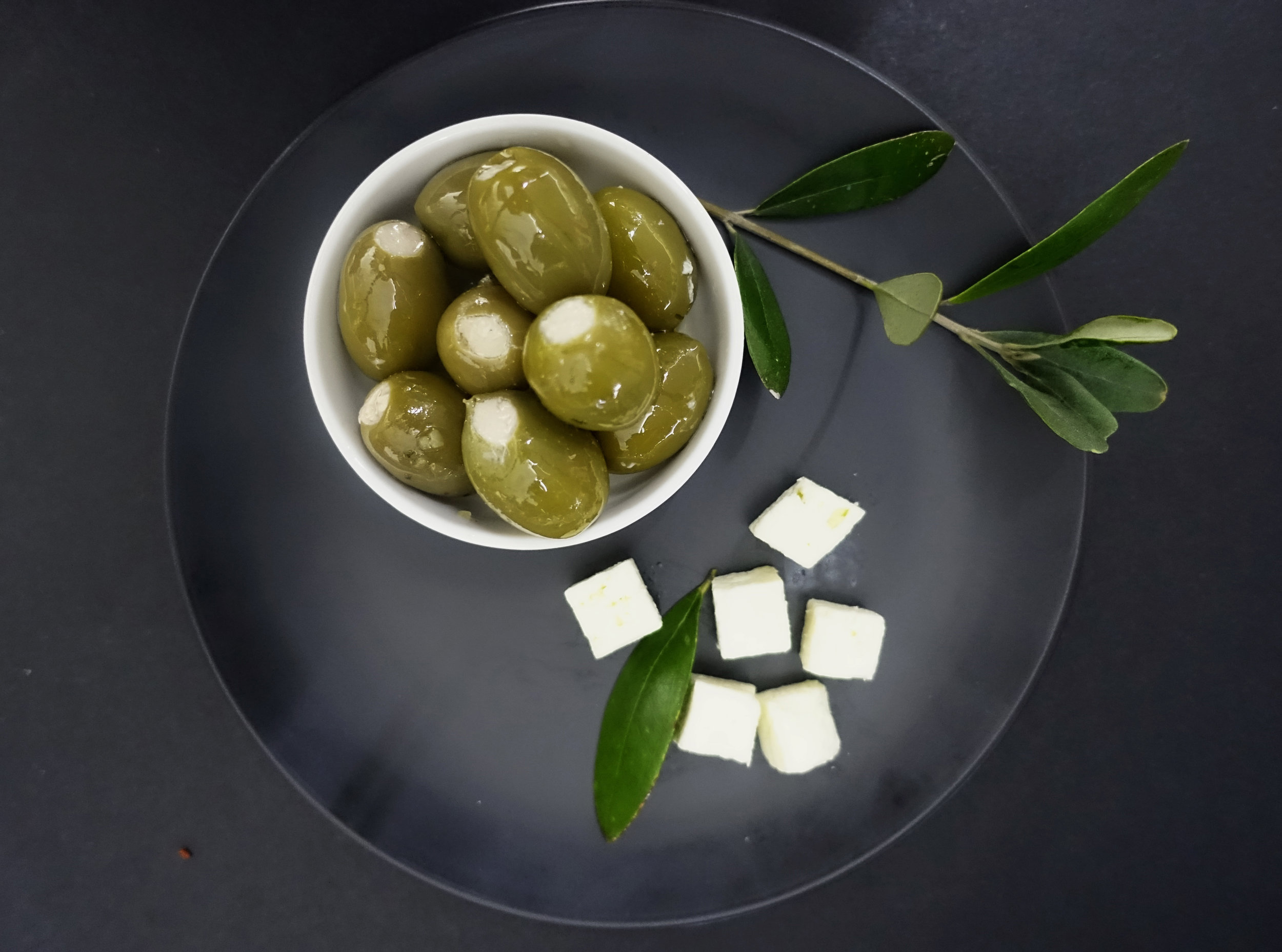 Green Olives Filled with Feta Cream Cheese