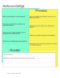 Acknowledge, Process, Accept Worksheet   Anxiety, depression and relationship issues are just a few reasons to use this sheet. This worksheet is intended to be used over and over. This worksheet is to help you with moving past areas where you may be stuck or where you have resided for longer than necessary or comfortable. Many times we are stuck because we have not found a useful way to process events.  For a guideline, see the example,   here   ,  on how to complete the sheet.  Click image to download!