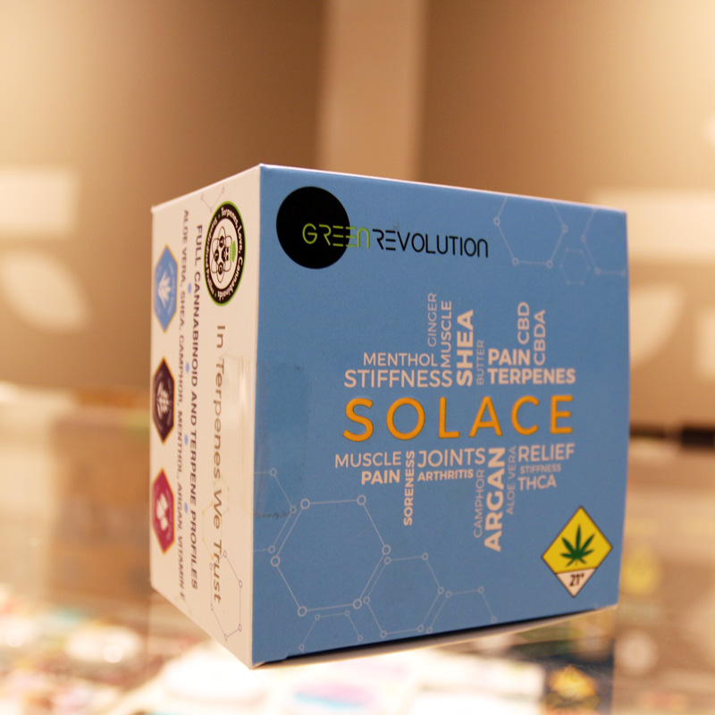 Green Revolution Solace Lotion - With a 100:1 ratio of CBD to THC this soothing lotion is great for inflammation. Also effective for rashes or arthritis, this blend of soothing Aloe, coconut oil, beeswax and more was designed to be a deep-penetrating topical.