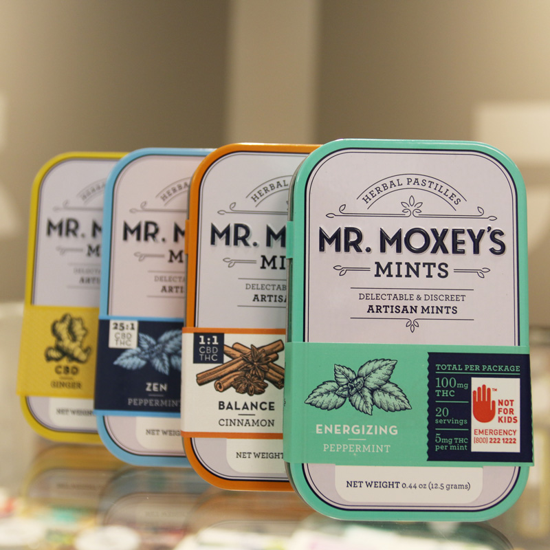 Mr. Moxey's Mints - Mr. Moxey's Mints come in a wide variety of strengths and flavors. This portable, discrete product is the perfect thing to keep with you in your purse or in your desk drawer. From very high CBD to all THC there is definitely an option that can help keep aches and pains at bay.