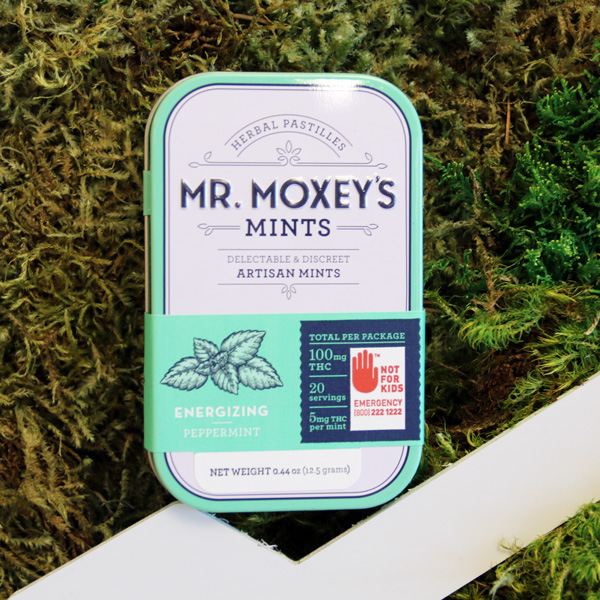 Energizing Mr. Moxey's Mints - A discreet and portable option with low-dose servings of THC delta 9, a compound associated with stimulating hunger. These mints are also taken sublingually, allowing for fast acting relief.