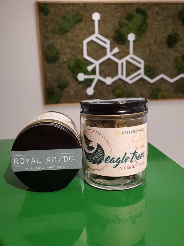 Eagle Trees Royal AC/DC - Eagle Trees is grown pesticide free under the sun in a green house to ensure that they are producing the cleanest and highest quality cannabis possible. Their Royal AC/DC is quickly becoming a favorite. The combination of Royal Kush and AC/DC provides an incredible profile of high CBD but also a good amount of THC to be very effective for a providing relief. Available in smokable flower, or in a concentrated Full Spectrum RSO oil you can smoke, eat, or cook with.