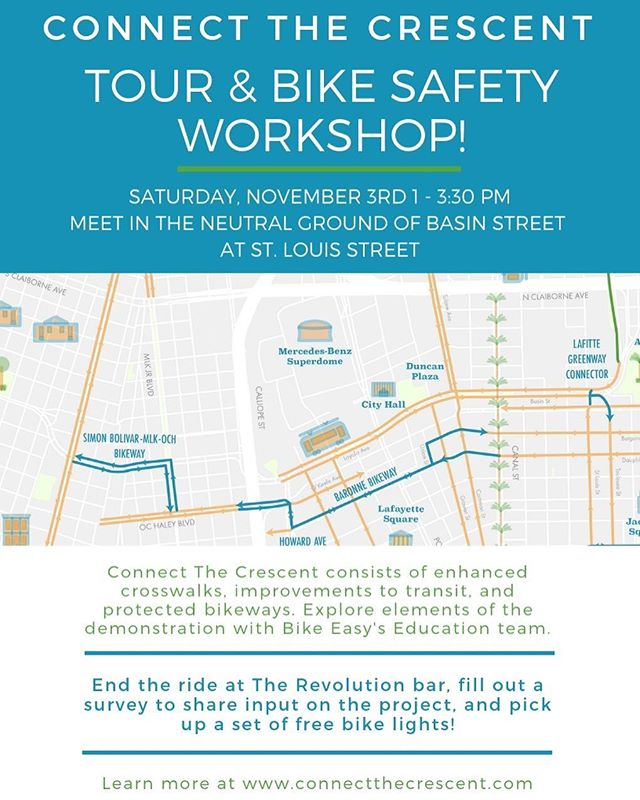 Explore #connectthecrescent with the Bike Easy Education team this Saturday! 🚲