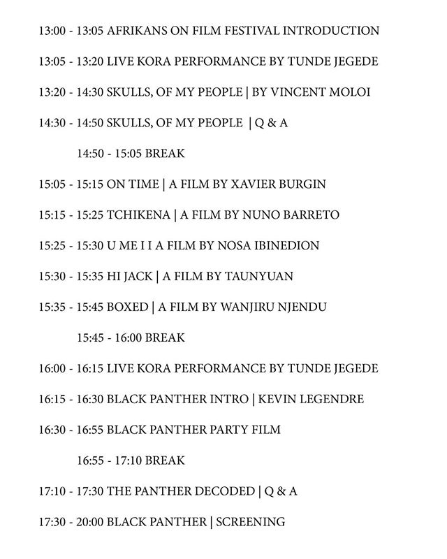 Our programme for the #AfrikansOnFilm fest @clfartcafe - see ya there! 1-8pm x