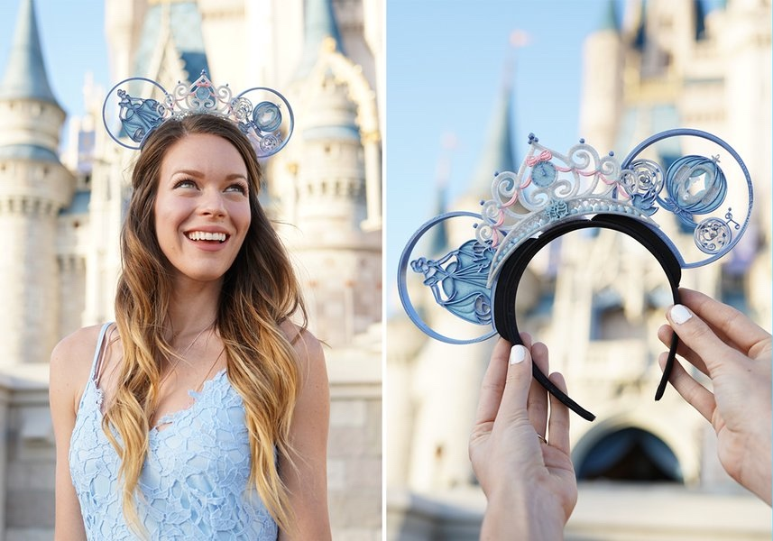 Dana with their  Glass Slipper and Tiara  mouse ears.