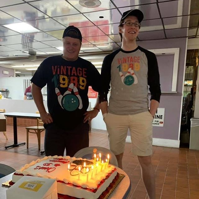 When you head to the bowling alley with your buds and realize your wives threw a combined surprise super-birthday party for the both of you with matching shirts and hats.  Genuinely shocked, what an afternoon!