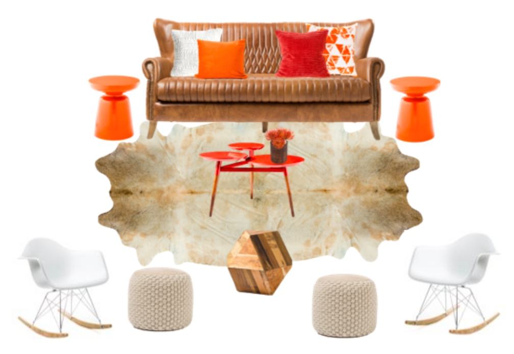 Seating four to five people, this setting includes one Damian Brown Leather Sofa, two orange Rosalyn Martini Side Tables, one red Elmina Clover dide table, two white Cynthia Modern rocking chairs, two Meredith circular knit poufs, one Ikadan Geo wood block, and one 5x8 Animal Hide area rug.