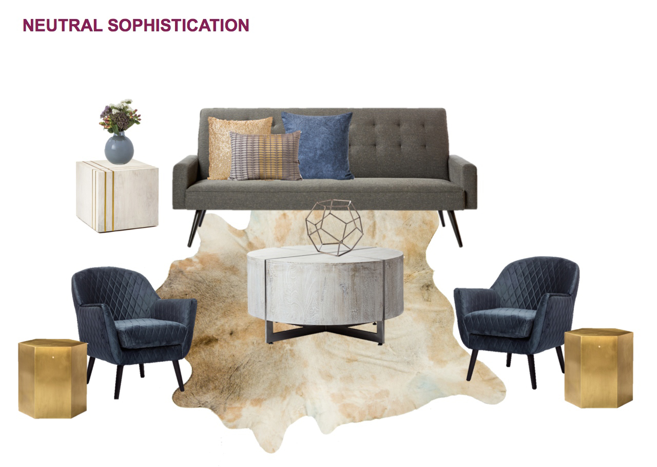In this subtly sophisticated grouping, the Draper Charcoal Linen Sofa is paired with the Alexis Diamond Pattern Steel Blue Chair, Darcy Whitewash Round Coffee Table, Adele Gold Hex Side Table, Kendall Brass Stripe White Cube Side Table, and Animal Hide Rug, all available through  Kennedy Collection .
