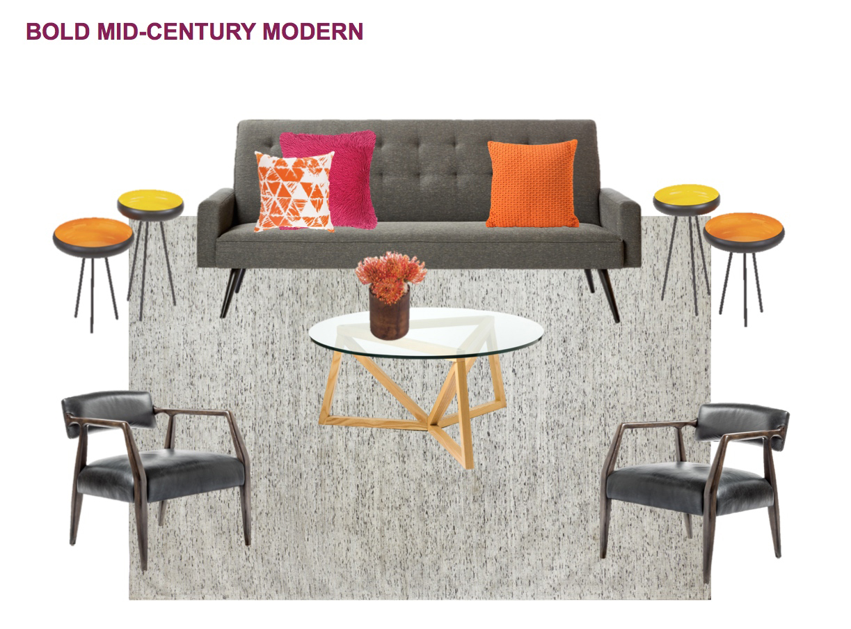 Filled with sleek, party-ready retro vibes, this grouping pairs the Draper Charcoal Linen Sofa with the Tristan Charcoal Leather Occasional Chair, Valorie Angular Wooden Glass Top Coffee Table, Poppy Side Tables, and White with Black Striations Rug, all available through  Kennedy Collection .