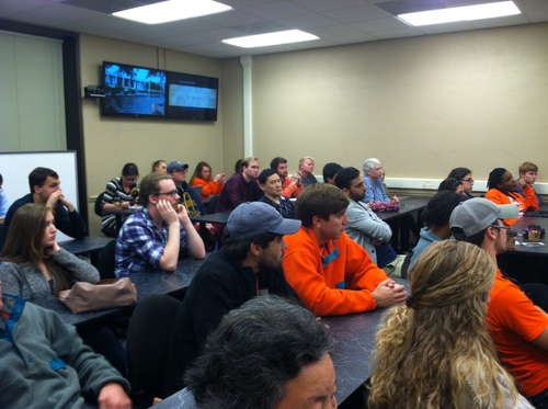 """Students at Clemson University, USA, watching """"Hard To Believe""""."""