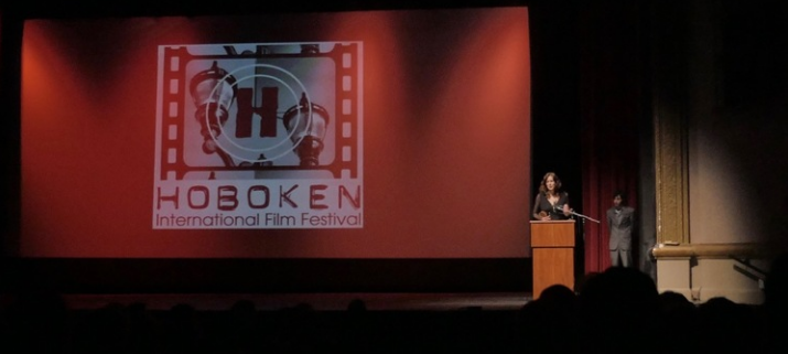 "Kay Rubacek, receiving the award for Best Documentary for ""Hard To Believe"" at the Hoboken International Film Festival"
