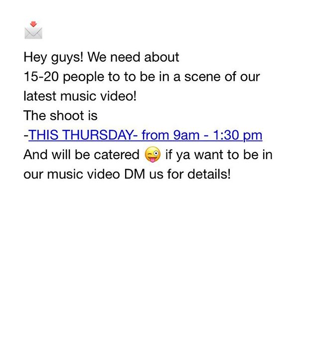Dm us if you wanna be in our music video 😜