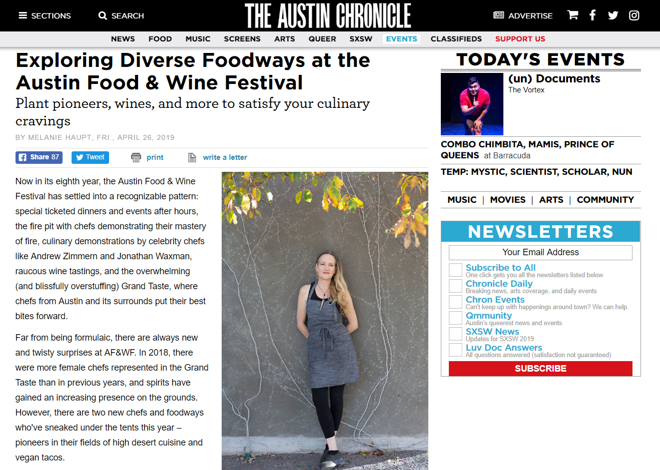 The Austin Chronicle - An interview with Executive Chef/Owner Alex Gates was featured in the April 26th issue of the Austin Chronicle prior to her participation in the 2019 Austin Food & Wine Festival Click here to read the interview.