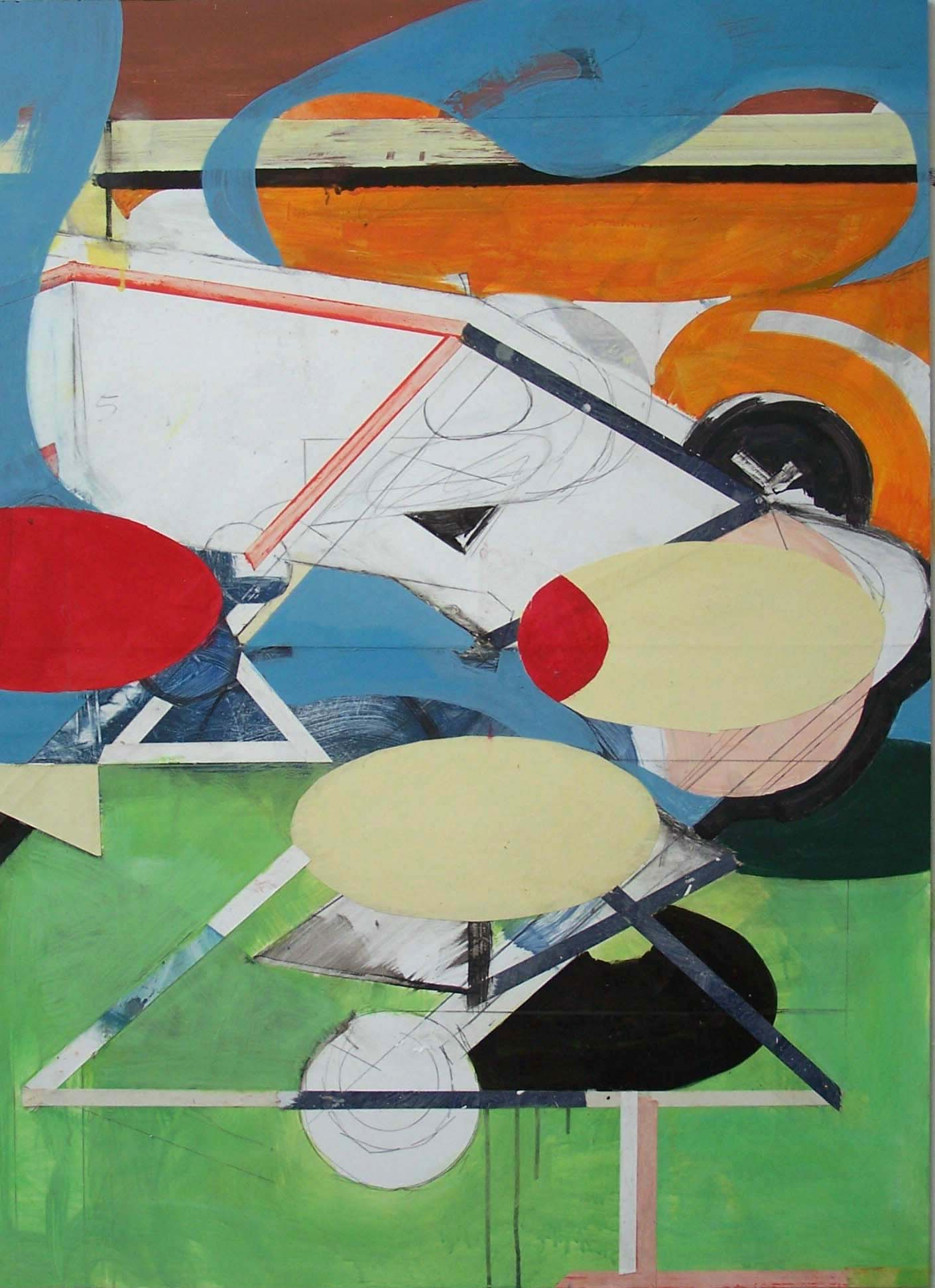 5 Painting with Bird, Sun and Tree 2009 Acrylic and Pasted Paper on board 122x89cm.jpg