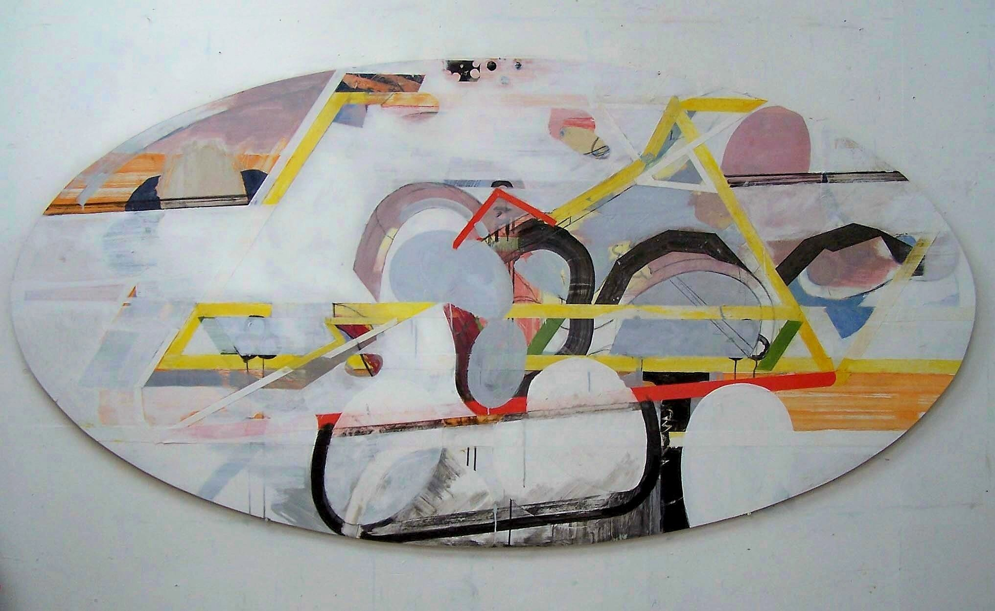 10 Painting with Tree and Bird 2009 Acrylic and pasted paper on board 109x250cm.jpg