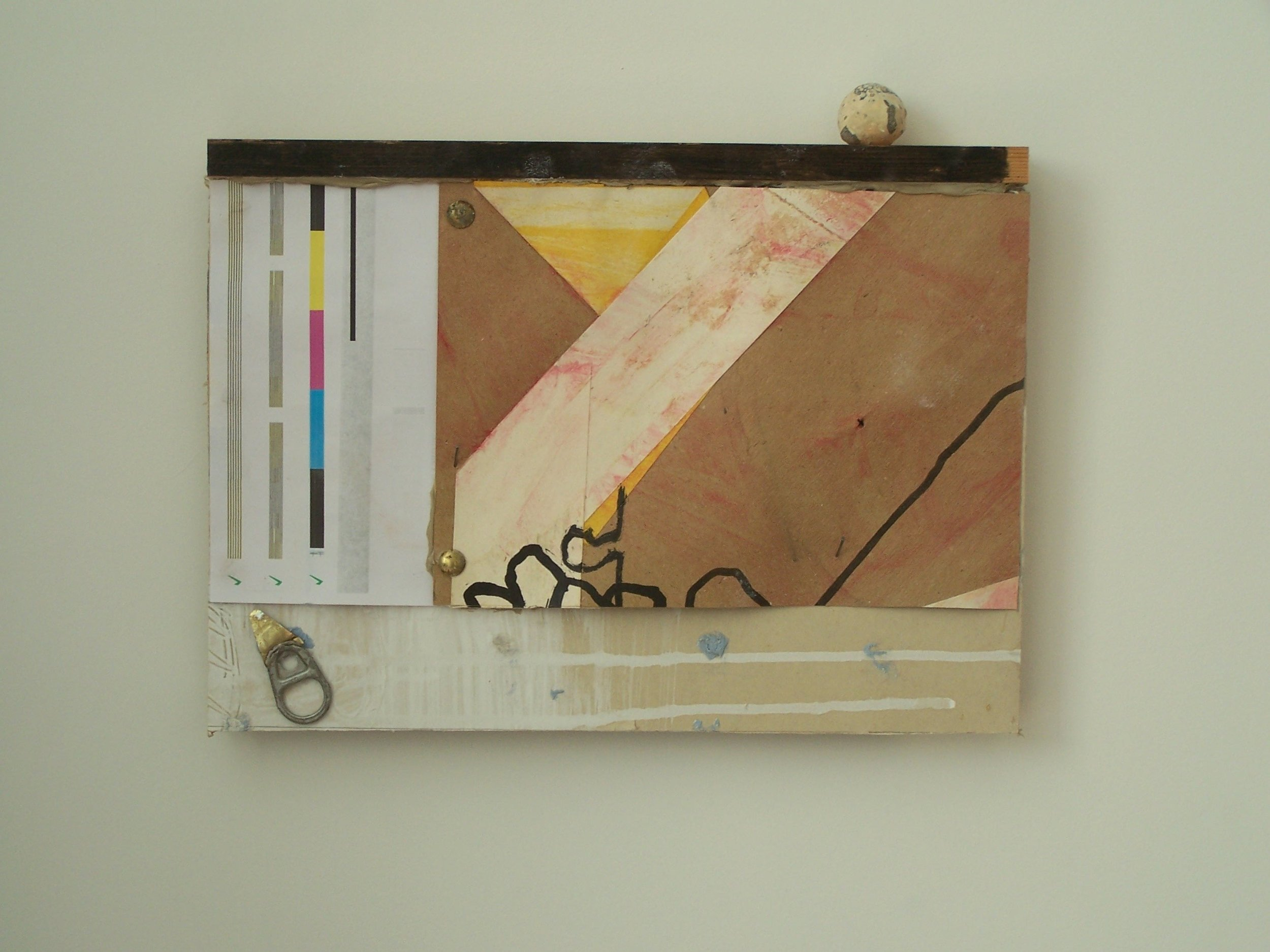 Ashley West. Piece with upper yellow triangle. Mixed media on plaster board. 33 x 23 cm. 2012..JPG