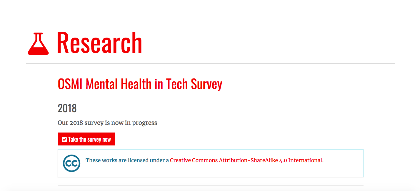 Collaborative Research Survey with Open Sourcing Mental Illness