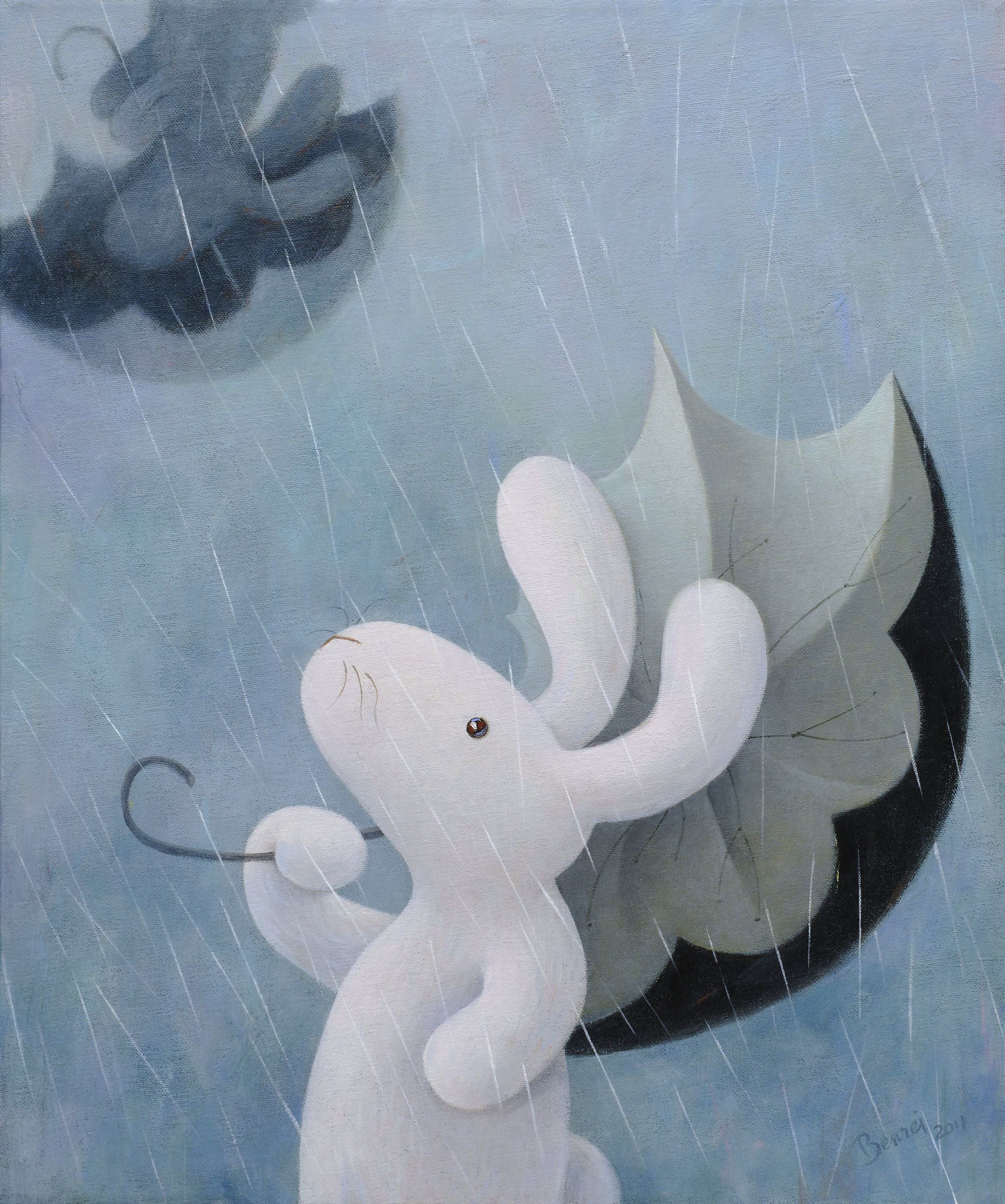 Oh, the wind, the wind is blowing, through the rain the wind is blowing, and I see my shadow drifts away 啊!風兒吹!它穿過雨絲不停地吹,我看著我的影子遠去啦!