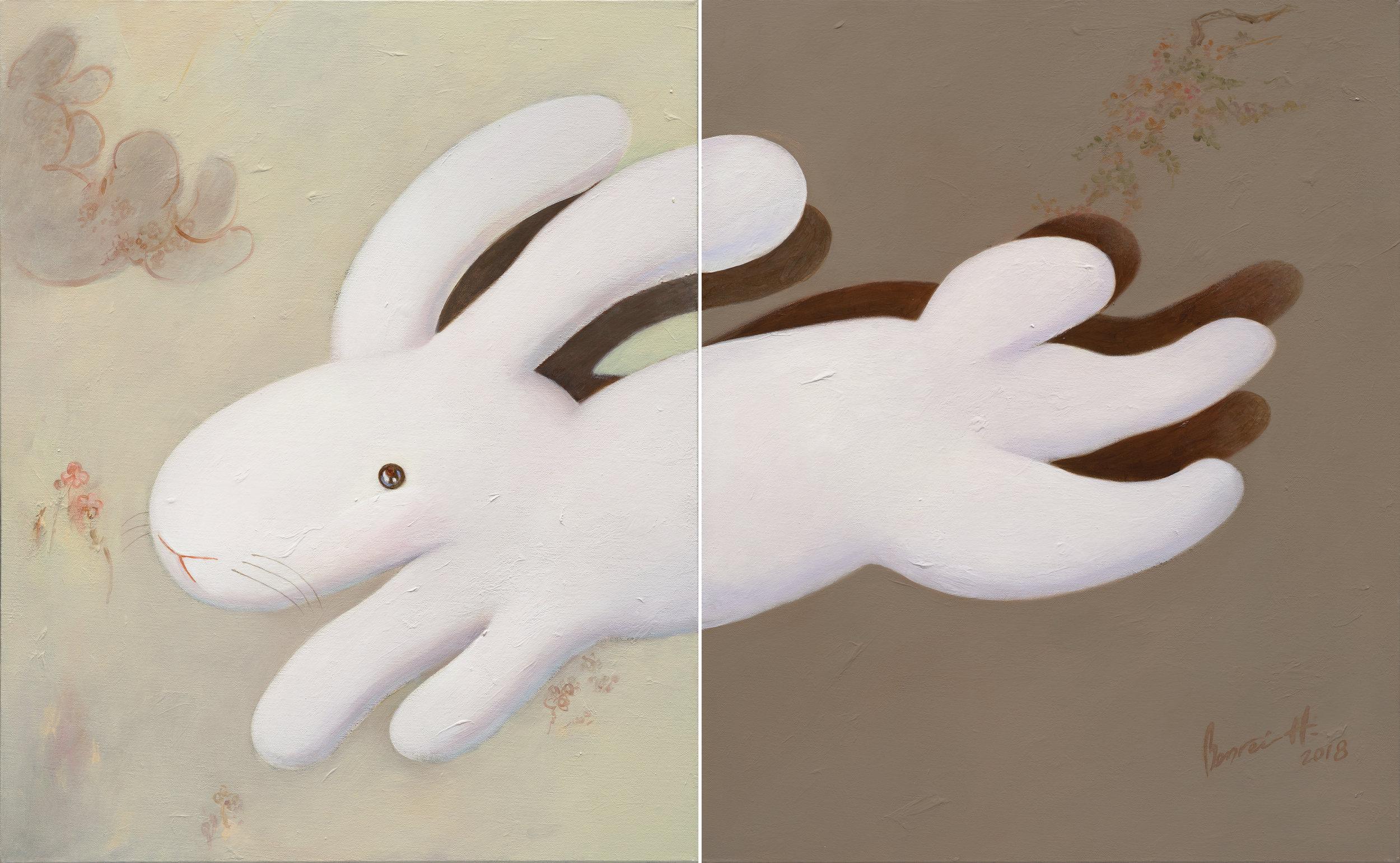 "Duet 二重奏,30x48""(76x122cm), acrylic on canvases, 2018"