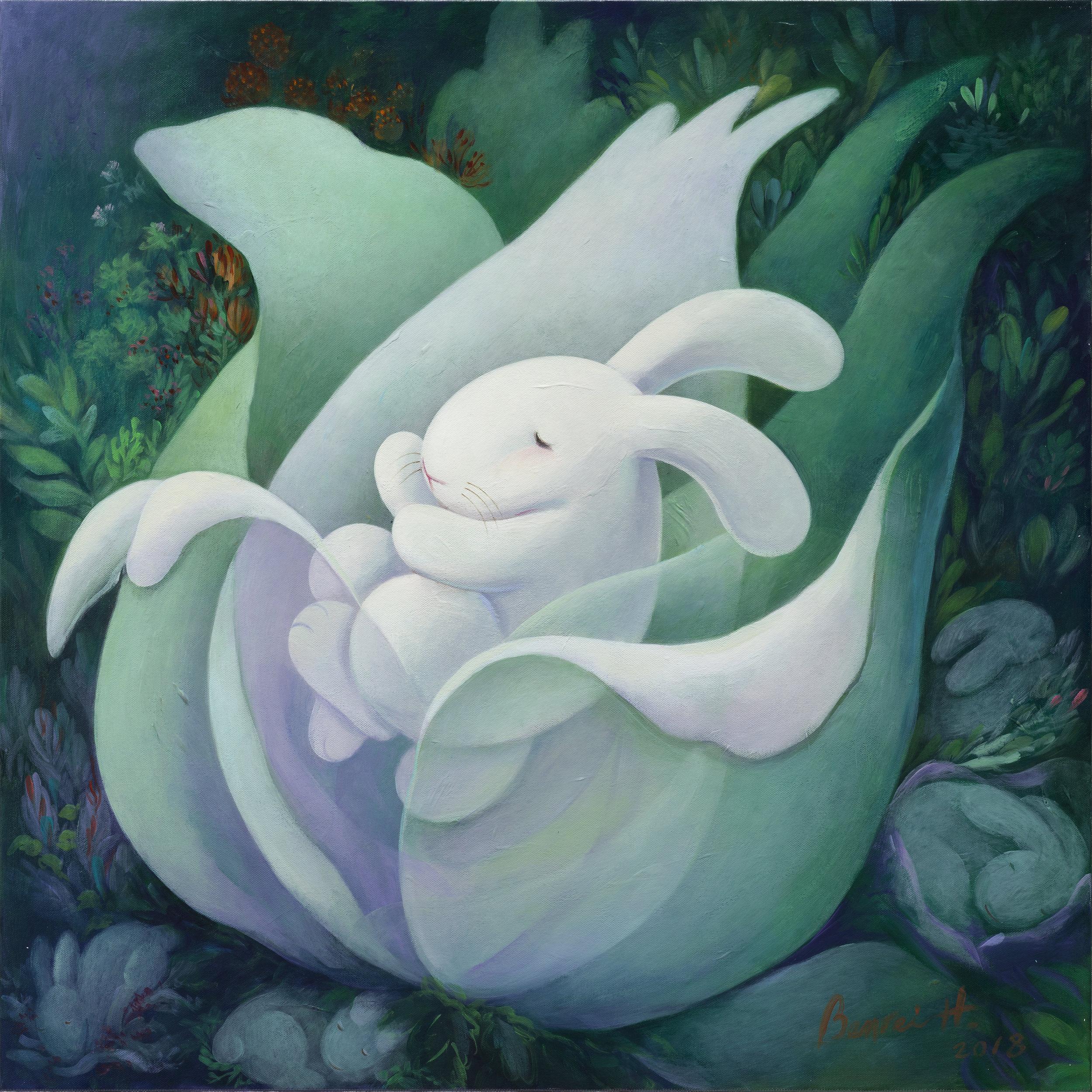 "Flower babies 花之寶,30x30""(76x76cm), acrylic on canvas, 2018"