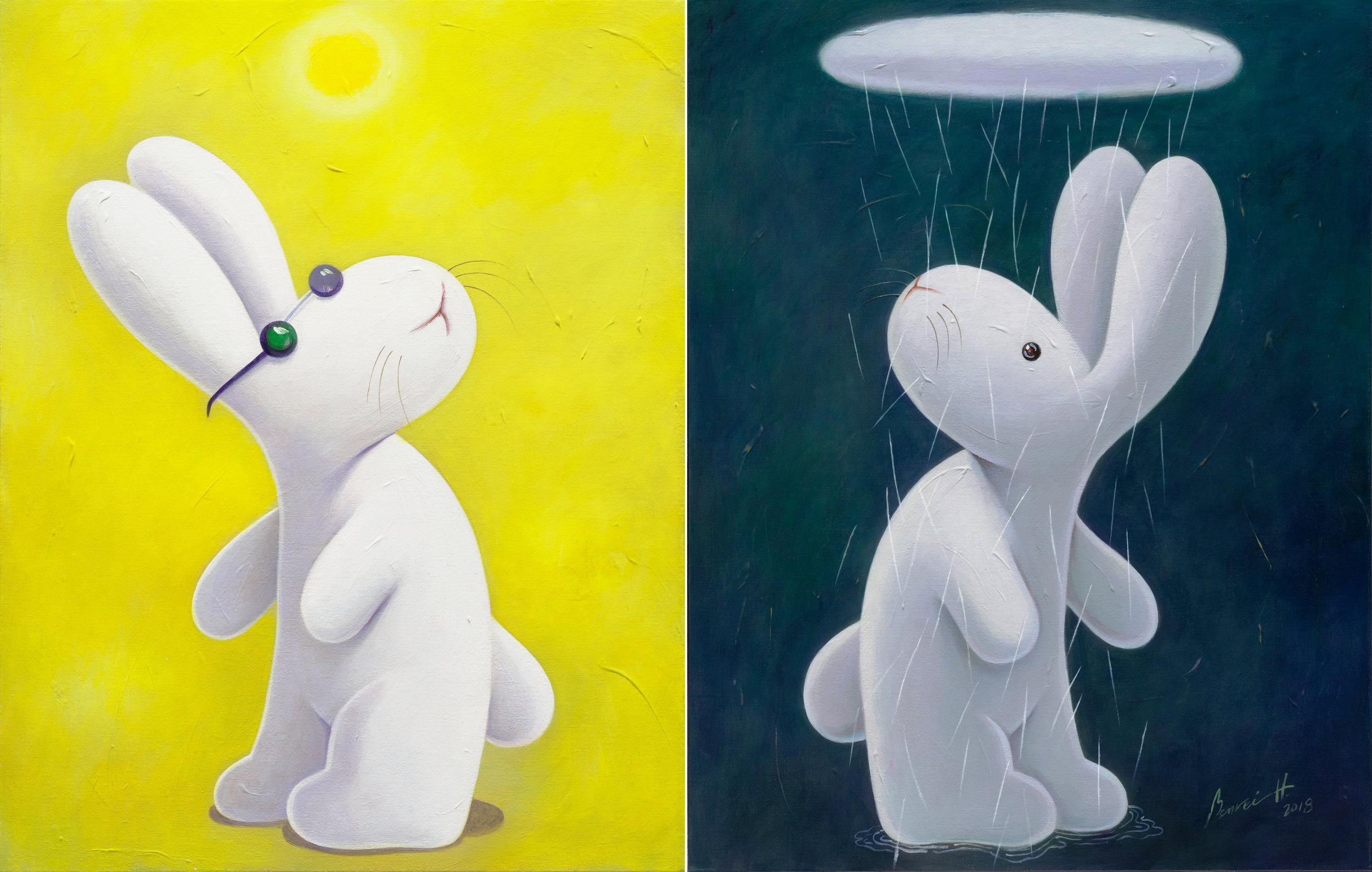 "My days of sun and rain 昨日豔陽今夜雨 今日豔陽昨夜雨,28x44""(71x112cm), acrylic on canvases, 2018"