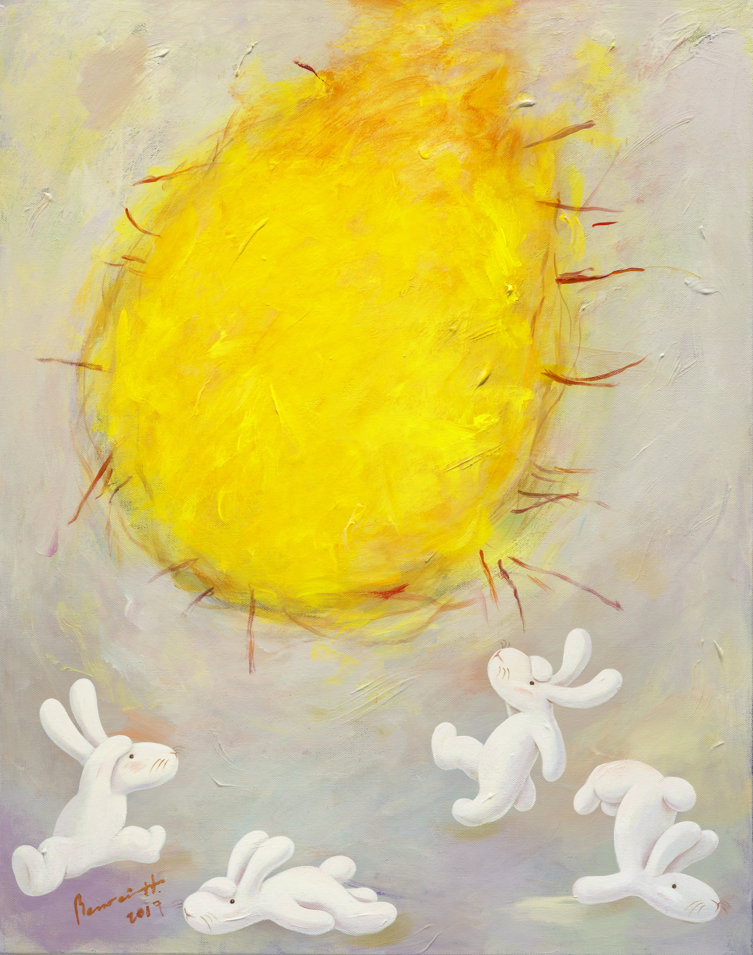"Oh sun! you've broken my heart 今天的太陽把心都曬傷了,28x22""(71x56cm), acrylic on canvas, 2017"
