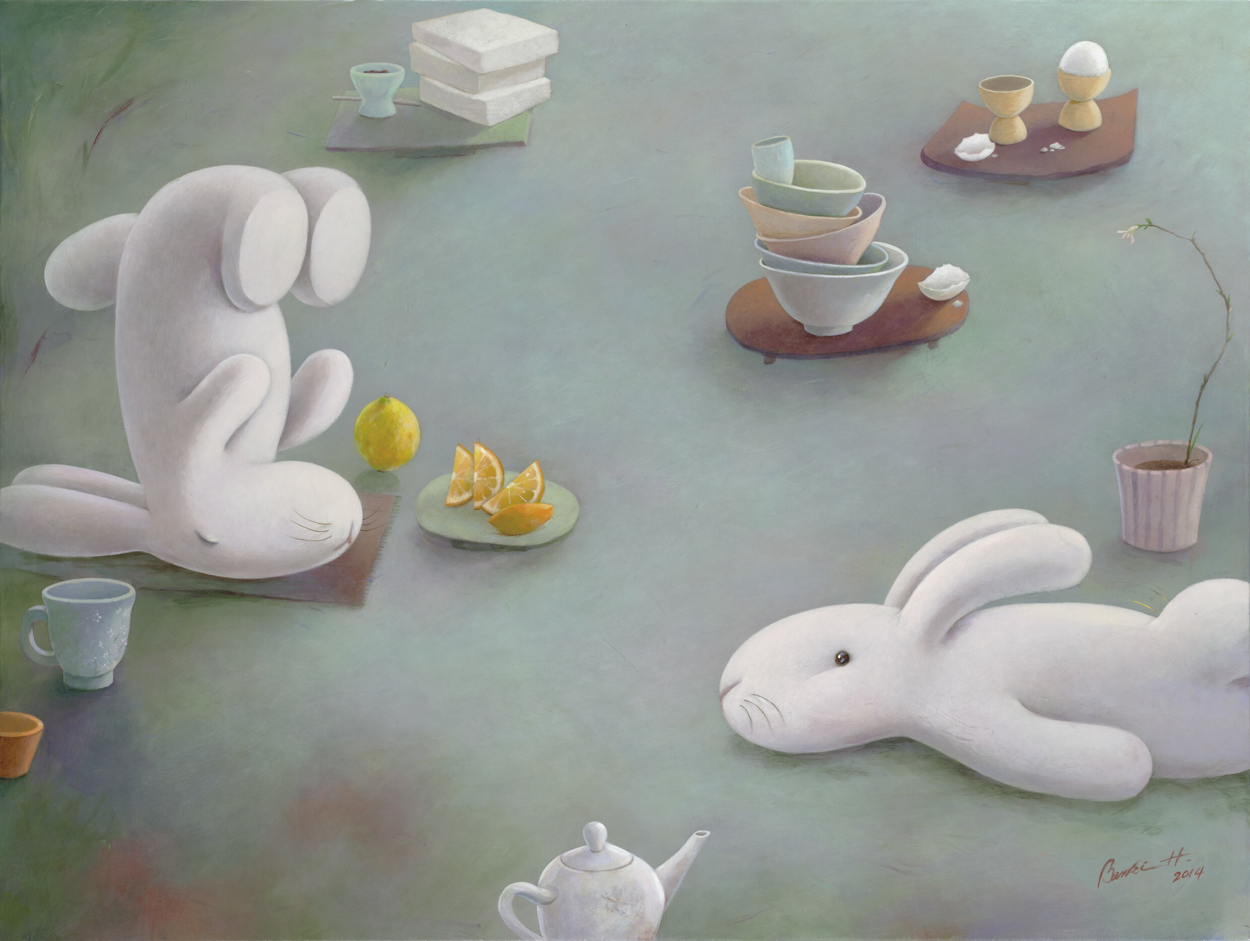 "om at the breakfast table 餐桌上的枯山水 30x40"", 2014, acrylic on canvas"