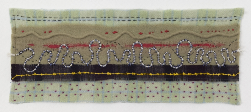 AND A WILD NIGHT   Felted Wool, welting, sewn.  10 x 24 UNFRAMED   $800       Back to Gallery