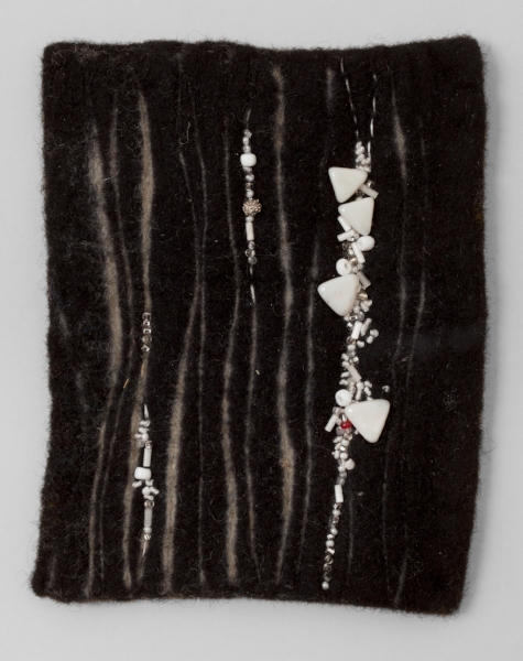 BIRCHES   Resist dyed Felted Wool, sewn and beaded.  11 x 17 FRAMED   $700       Back to Gallery