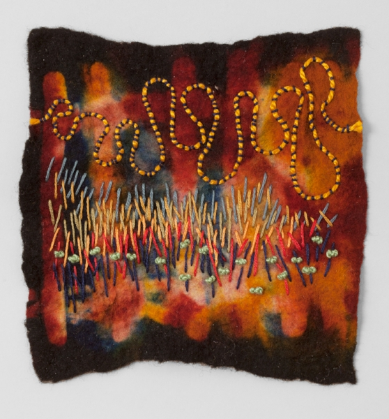 """HARVEST   Resist dyed Felted Wool, sewn.  11 x 17""""FRAMED   $700       Back to Gallery"""