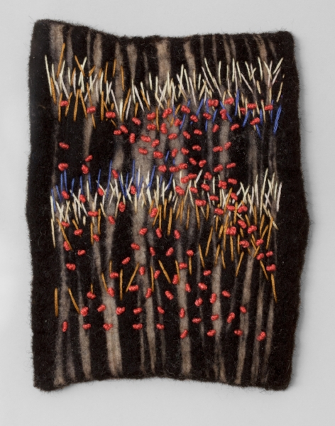"""POPPIES   Resist dyed Felted Wool, sewn.  11 x 17"""" FRAMED   $700       Back to Gallery"""
