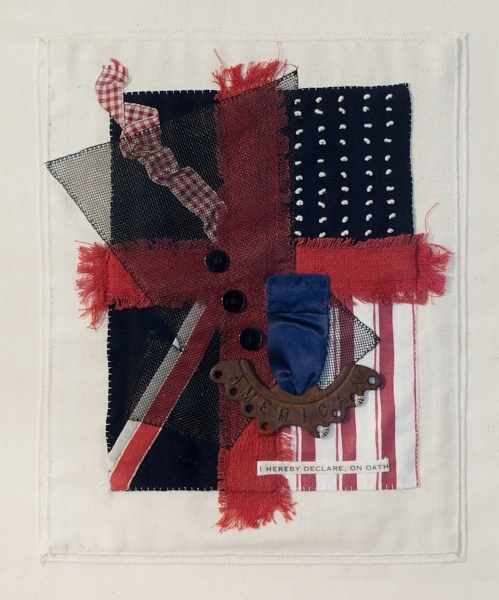 ON OATH   Linen, printed fabric, ribbon, found object, nylon screen, transfer type, sewn.  12 x 18 FRAMED   $900        Back to Gallery
