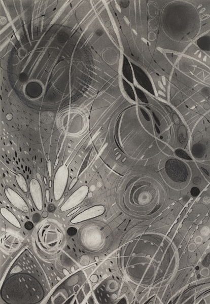 """PROTO III   Graphite powder and pencil, Chinese white on paper  17""""x24"""" FRAMED  $525    Back to Gallery"""