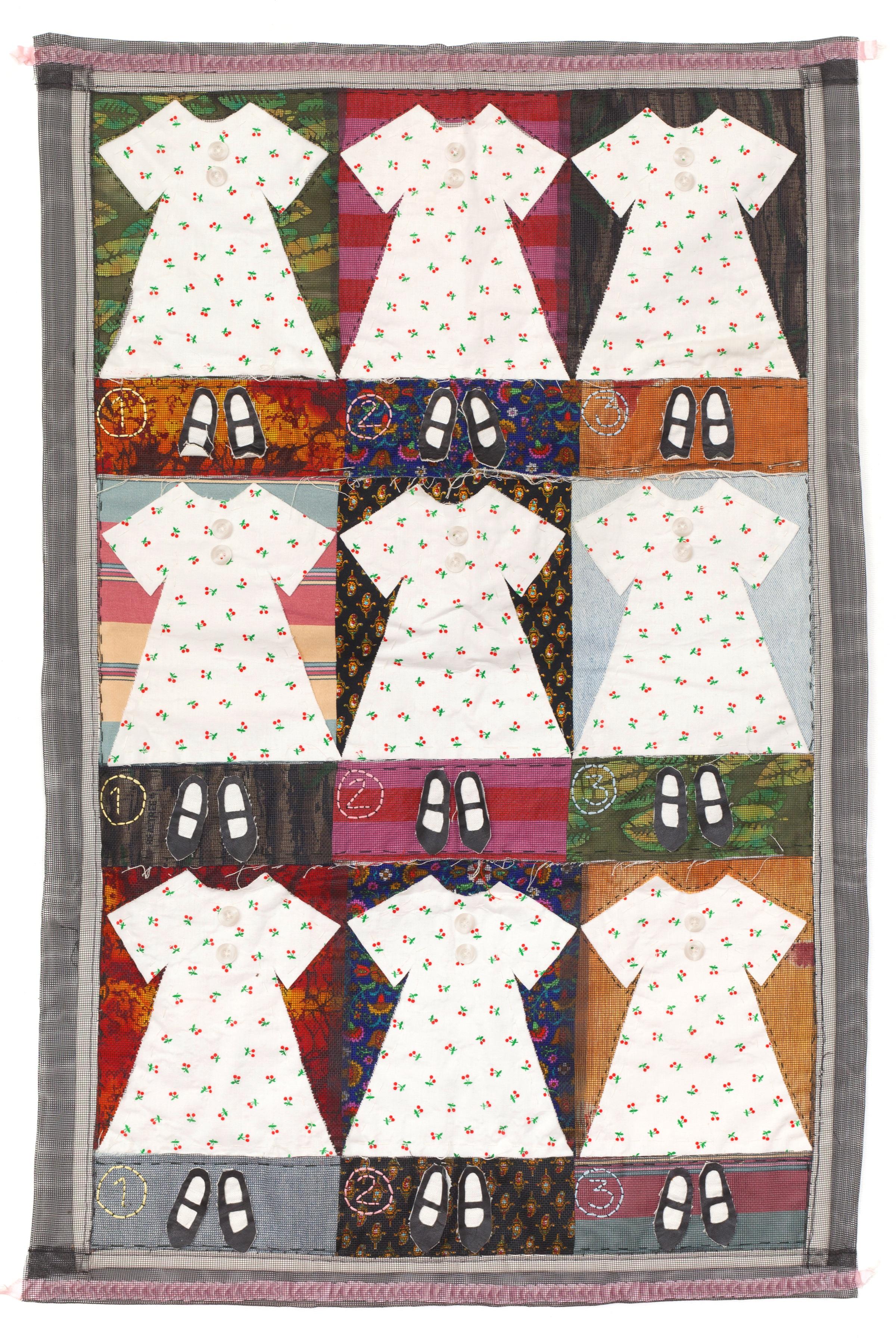 Fiona Lovell Horning,  Girlie Quilt , Printed fabrics, vinyl screen, ribbon, sewn