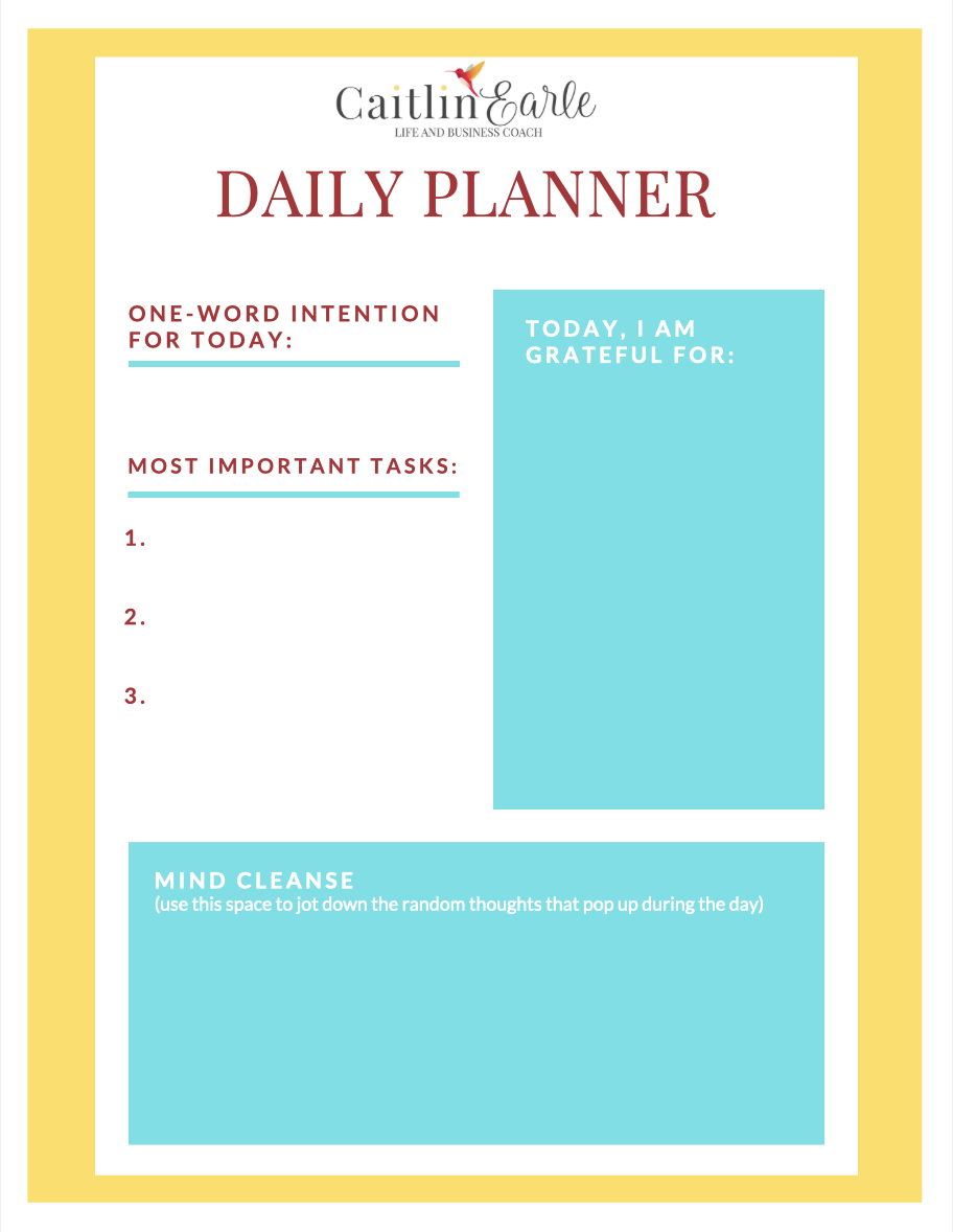 Download your free printable daily planner at caitlinearle.com!