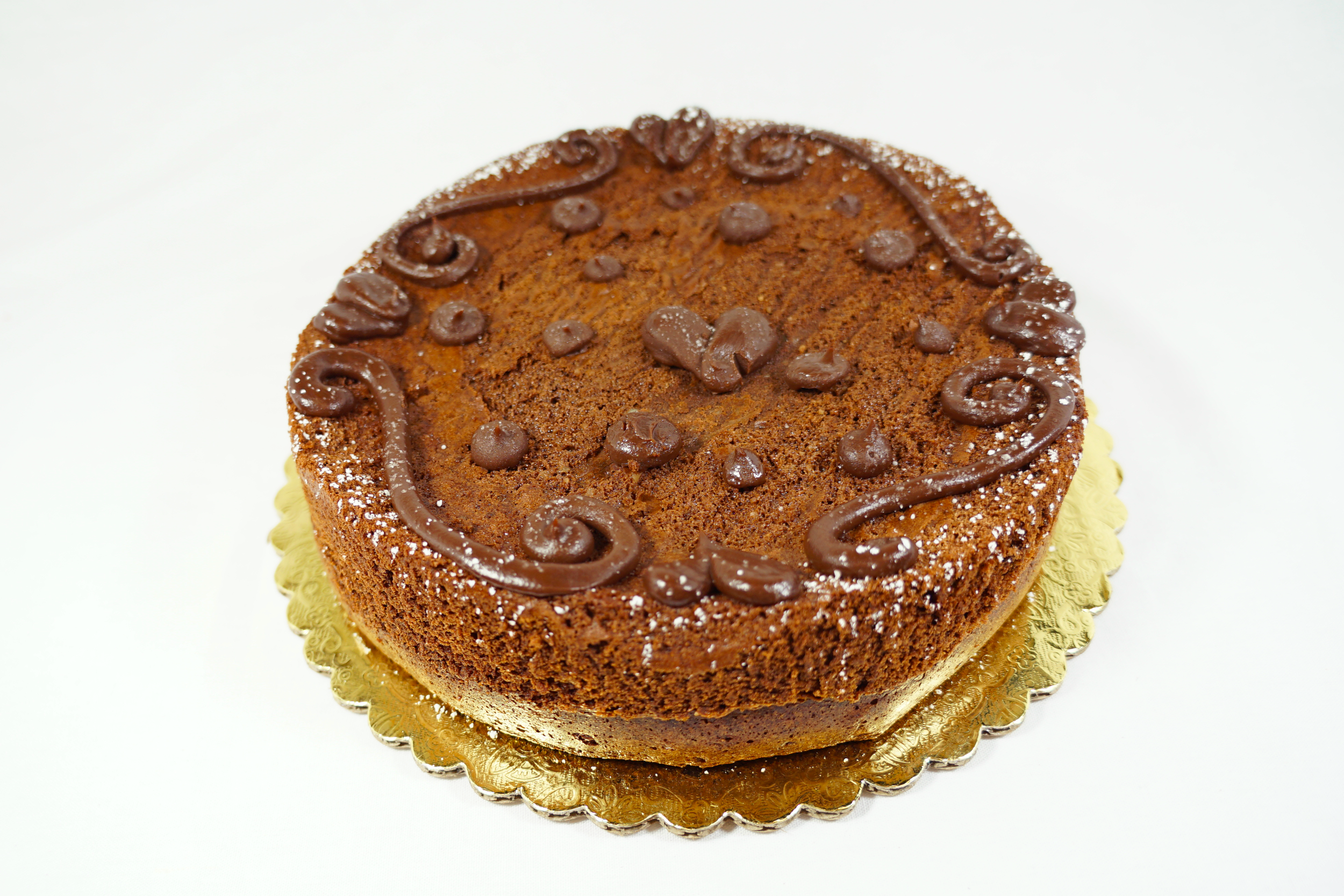 Flourless - A dark chocolate, ground almond cake made with egg whites and yolks.