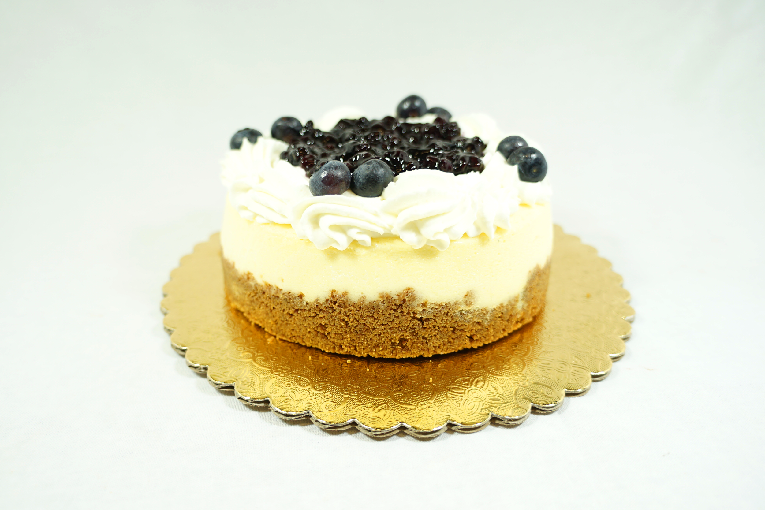 Blueberry Cheesecake - Graham cracker crust with blueberry topping.